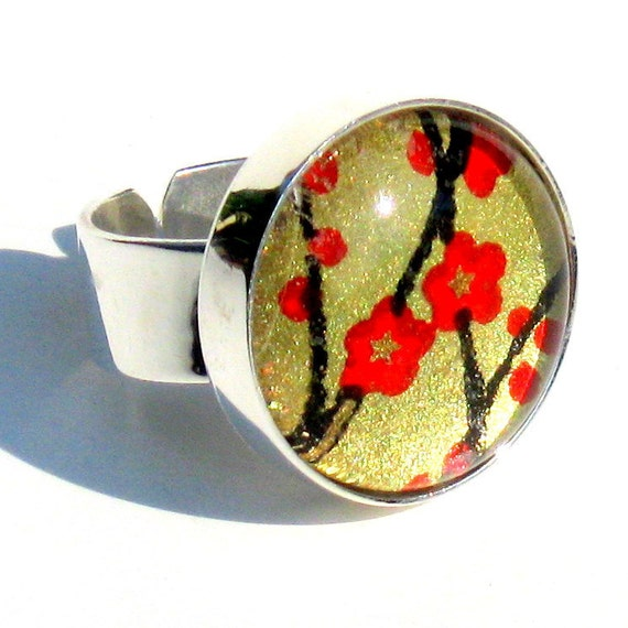 Silver Cocktail Ring. Metal and Glass Red and Gold Adjustable Ring: Asian Poppies