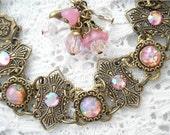 Pink Opal Sunshine Bracelet - Pink Glass Opals