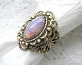 Pink Opal Sunshine Antiqued Brass Ring