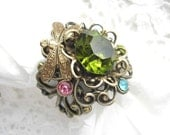 RESERVED - Enchanted Forest - Olivine Glass and Brass Ring