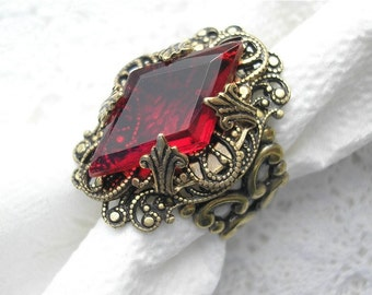 Opening Night - Vintage Style Ruby Glass and Brass Ring