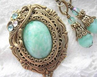 Seafoam Elegance Aqua Glass Brooch with Earrings