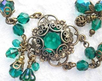 Emerald Isle Bracelet - Victorian Style Bracelet Glass Jewel Bracelet