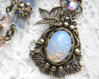 Sierra Sunrise - Sapphire Blue Glass Opal Necklace