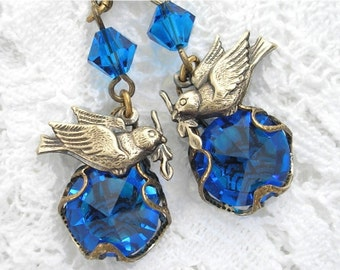 Dove with Olive Branch - Capri Blue Charmed Glass Earrings