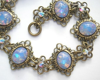 Blue Opal Poetry Bracelet - Vintage Glass Opals in Antiqued Brass