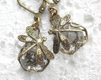 Crystal Dragonfly Charmed Glass Earrings