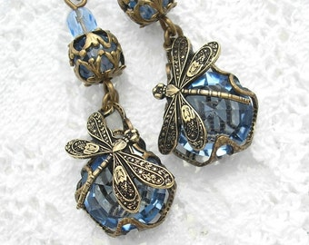 Sapphires and Dragonflies - Blue Glass Earrings
