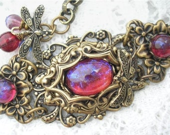 Dream Weaver Bracelet - Mexican Glass Dragons Breath FireOpals in Antiqued Brass