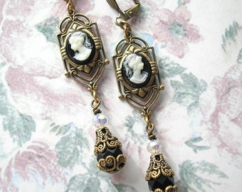 Classic Cameo Victorian Style Dangle Earrings - Ivory on Black