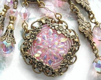 Early Blossoms - Pink Czech Glass Button Necklace and Earring Set