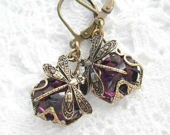 Amethyst Dragonfly Earrings - Filigree Wrapped Pierced Earrings - Also Available in Clip-on