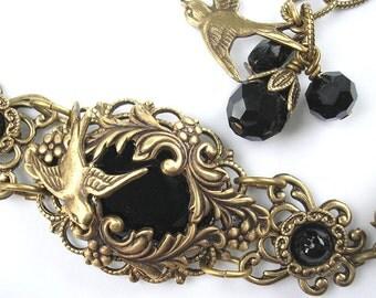 Night Flight Bracelet - Jet Black Glass and Antiqued Brass