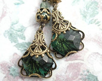 Filigree Pines - Tourmaline Glass in Antiqued Brass Earrings