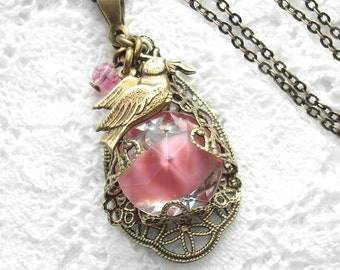 Doves and Roses Pink Glass Jewel Pendant Filigree Wrapped Pendant