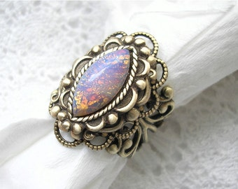 Pink Opal Sunshine Antiqued Brass Ring