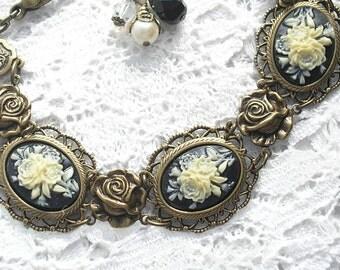 Floral Cameo Bracelet - Victorian Style Bracelet Antiqued Brass