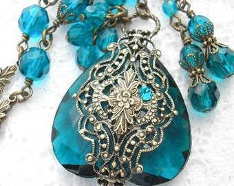 Deep Sea Shadows - Filigree Wrapped Vintage Blue Zircon Glass Jewel Necklace Set
