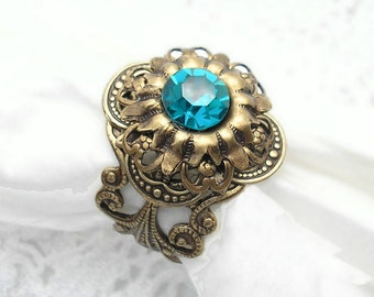 Deep Sea Shadows Ring - Swarovski Blue Zircon and Antiqued Brass
