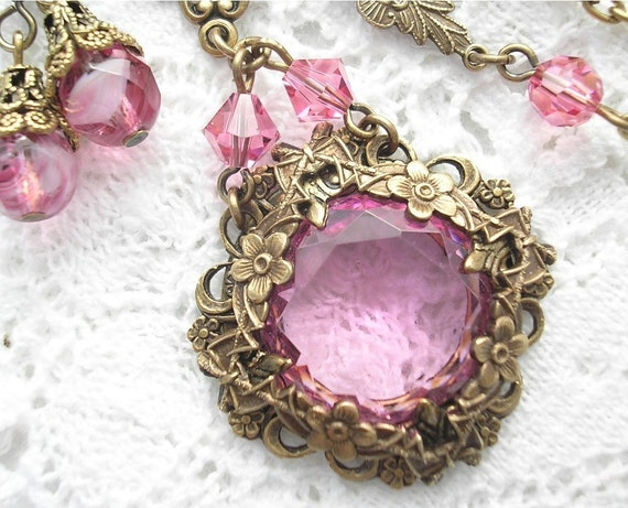 Sugar and Spice - Pink Rose Glass and Brass Necklace Set