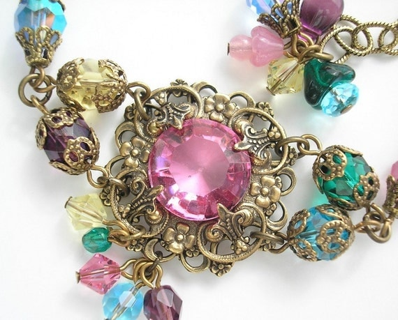 Dreaming in Color - Rose Glass Rainbow Antiqued Brass Bracelet