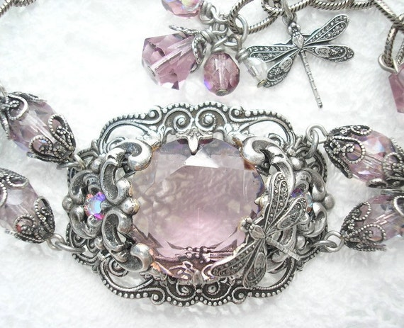 Legacy Bracelet in Antiqued Silver with Light Amethyst Jewel