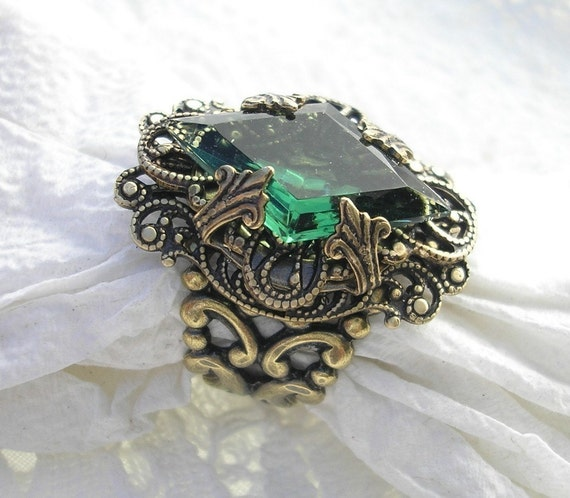 Whispering Pines - Vintage Tourmaline Glass and Antiqued Brass Ring