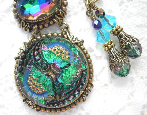 Double Rainbow - Vintage Glass Button Necklace with Vitrail Glass Jewel