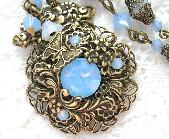 Water Garden Fantasy - Air Blue Opal Glass and Brass Necklace