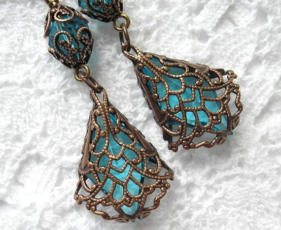 Copper Lace - Filigree-Wrapped Vintage Aquamarine Glass Jewel Earrings
