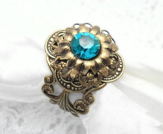 Deep Sea Shadows Ring - Swarovski Blue Zircon and Antiqued Brass