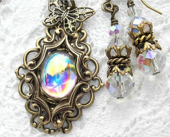Crystal Bubble Pendant and Earring Set - Vintage Crystal Aurora Borealis
