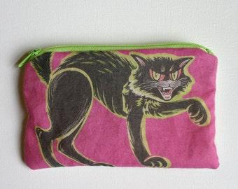 Vintage Halloween Cat Zipper Pouch