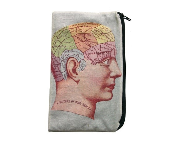 Vintage Phrenology Chart Makeup Bag