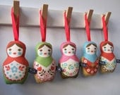 Sale - 2 x Matryoshka hangy thingy - One red and one blue