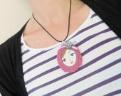 SALE Hello doll face necklace - Dusky pink