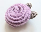 Sale - Rolled Rose crocheted brooch - Lilac