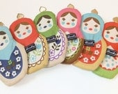 Babushka coin purse - Pink with turquoise gingham back