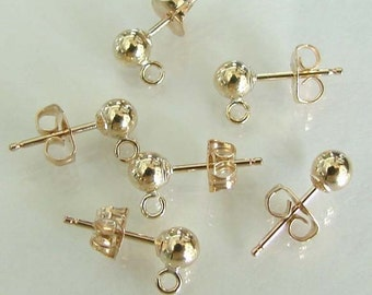 14K Gold Filled 4mm Ball Earrings With Open Loop And Ear Nuts - Quantity of 12