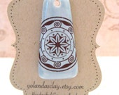 Blue Pendant with Star Decal  Handmade from Porcelain Clay Ceramic Bead Art