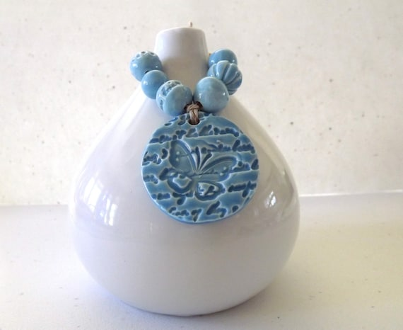 Bright Blue Butterfly Pendant and Bead Set from Porcelain Clay