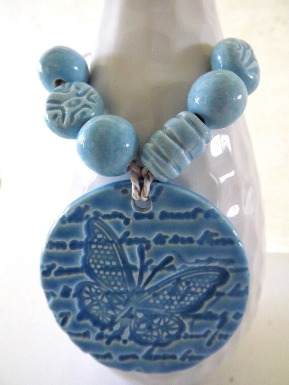 Aqua Butterfly Pendant and Bead Set from Porcelain Clay Ceramic Bead Art