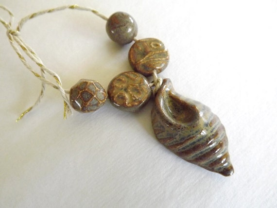 Earthy Stone Ocean Shell and Beads from Porcelain Clay