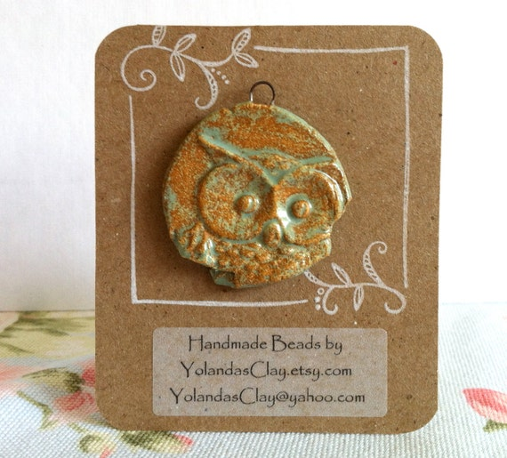 Rusty Crusty Owl Pendant from Stoneware Clay Beads of Clay Ceramic bead Art