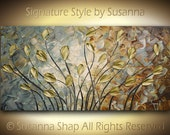 ORIGINAL Abstract Flowers Painting Large Contemporary Fine Art Brown Gray Gold Tulips Palette Knife Impasto Landscape by Susanna 48x24