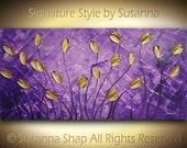 ORIGINAL Large Abstract Impasto Landscape Purple Gold Tulips Modern Palette Knife Painting - Contemporary Fine Art by Susanna 48x24