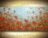 ORIGINAL Large Abstract Orange Poppies Oil Painting Impasto Landscape Modern Palette Knife Contemporary Fine Art by Susanna 48x24