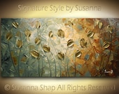 ORIGINAL Abstract Contemporary Heavy Texture Brown Blue Gold Tulips Painting Palette Knife Impasto Landscape by Susanna 48x24 Ready to Hang
