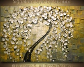 ORIGINAL Abstract Contemporary Weeping White Cherry Blossom Tree Painting Thick Texture Ready to Hang Gallery Canvas 36x24 by Susanna