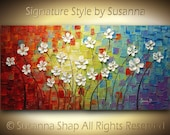 ORIGINAL Large Abstract Contemporary White Flowers Landscape Heavy Texured Modern Multicolored Painting  by Susanna Ready to Hang 48x24
